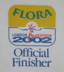 Logo on front of 2002 London Marathon finishers t-shirt