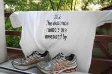 Reverse of 2002 London Marathon finishers t-shirt