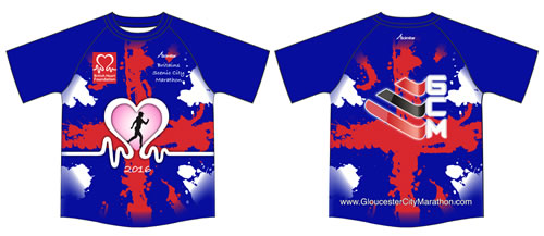 Gloucestere Marathon finisher t-shirts